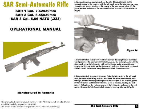 SAR Semi-Automatic Rifle Manual 7.62; 5.45; 5.56 cal (Romania)