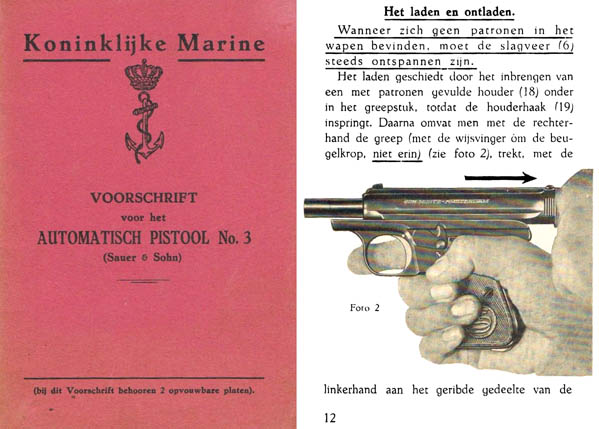Sauer c1935 Automatic Pistol No. 3 Dutch Navy- Manual
