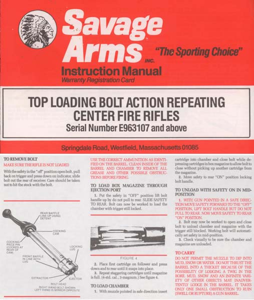 Savage 1990 Top Loading Bolt Action CF Rifles Manual