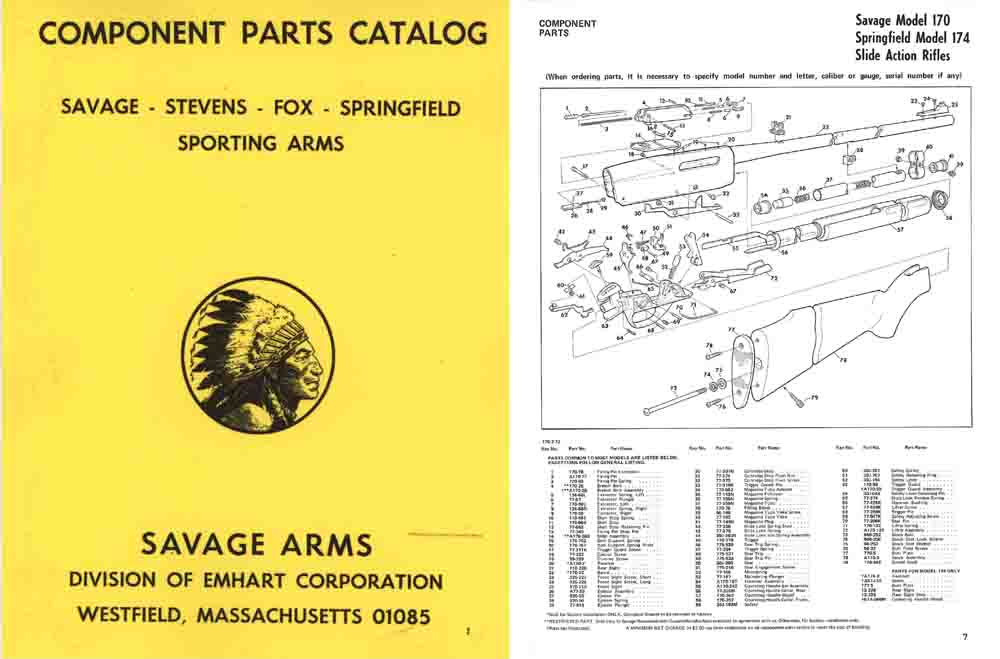 Savage, Stevens, Fox 1972 Component Parts Catalog- Manual