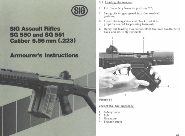 Sig 550/551 5.56mm Armourer's Instructions- Manual