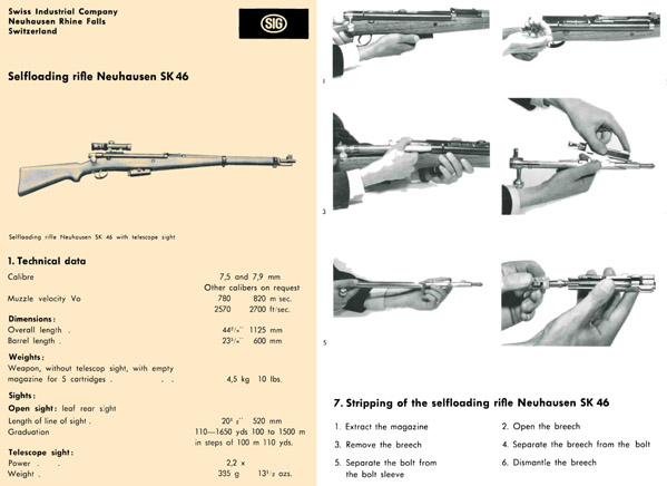 SIG SK46 Neuhausen c1950 Manual (English)