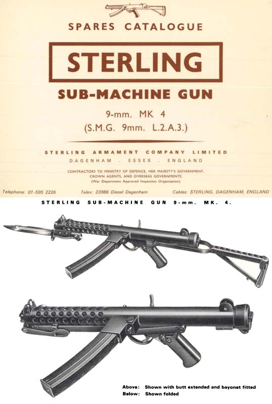 Sterling MK4 SMG 9mm L.2.A.3- c1970 Spares Catalogue (UK)