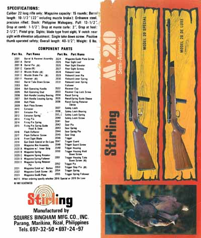 Stirling Squires Bingham Mfg. c1970 Company Model M20 Rifle Manual