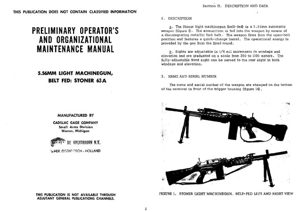 Stoner 63A LMG Light Machine Gun Manual