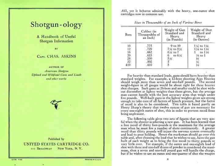 Shotgun-ology - A 1926 USCC Handbook of Useful Shotgun Information