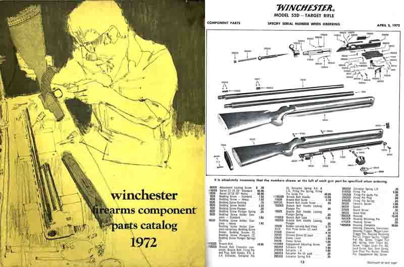 Winchester 1972 Component Parts Catalog - Books at GunBroker